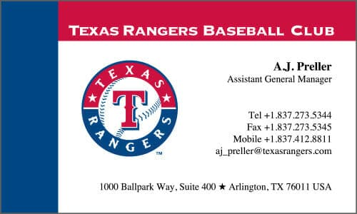 Japanese Business Card Translation Sample - Texas Rangers 500 - English