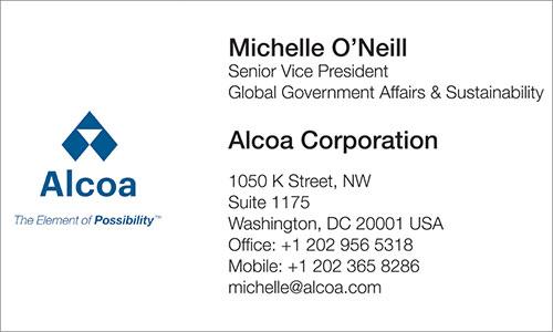 Arabic Business Card Translation Sample - Alcoa 500 - English
