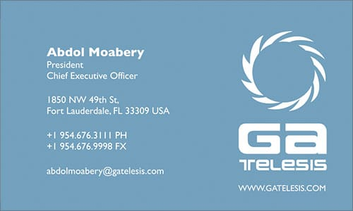 Arabic Business Card Translation Sample - GA Telesis 500 - English