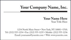 Black & White Business Card Template Style D