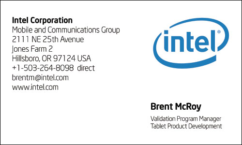 Chinese Business Card Translation Sample Intel 500 - Intel English