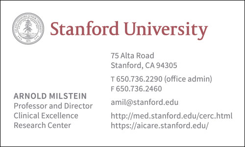 Chinese Business Card Translation Sample 500 - Stanford University English