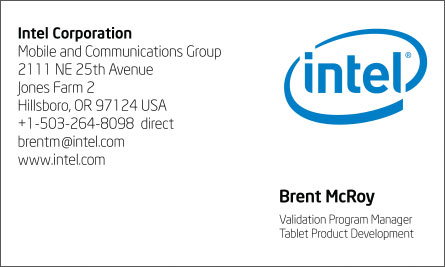 Intel English Business Card Translation Sample