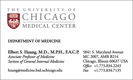 University of Chicago English Business Card Translation Sample Business Card
