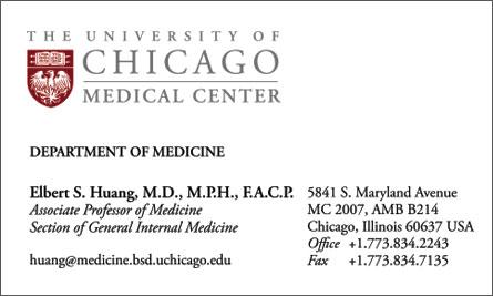 University of Chicago English Business Card Translation Sample Business Card