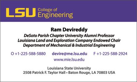 LSU English Business Card Translation Sample Business Card