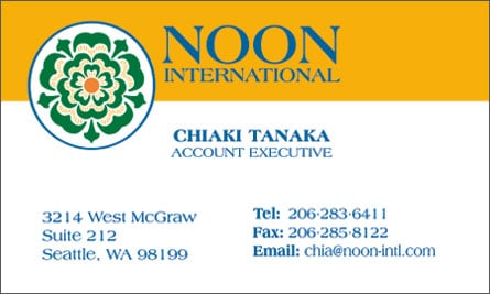 Noon English Business Card Translation Sample Business Card