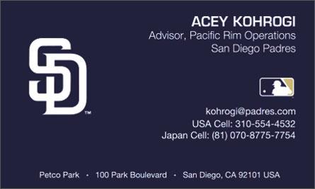 San Diego Padres English Business Card Translation Sample Business Card