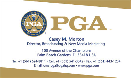 PGA English Business Card Translation Sample Business Card