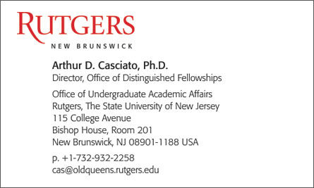 Rutgers English Business Card Translation Sample Business Card