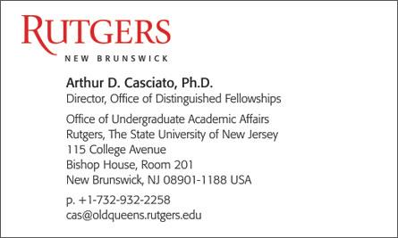Rutgers English Business Card Translation Sample Business Card