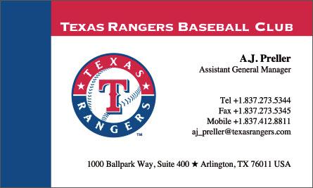 Texas Rangers English Business Card Translation Sample Business Card
