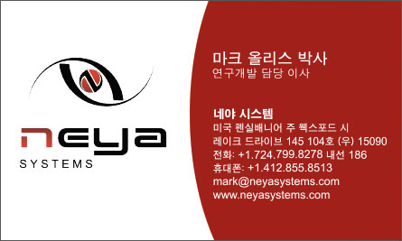 neya Korean Business Card Translation Sample