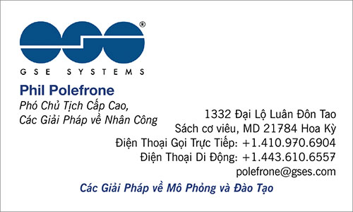 Vietnamese Business Card Translation Sample 500 - GSE Systems Vietnamese